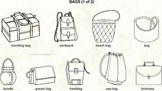 Different Bags Types 1 Visual Dictionary, Fashion Dictionary, Visual Clothing, Fashion Terms, Fashion 101, Designer Consignment, Fashion Vocabulary, Purse Styles, Technical Drawing