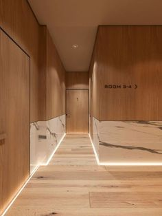 Wood and marble for this hotel interior
