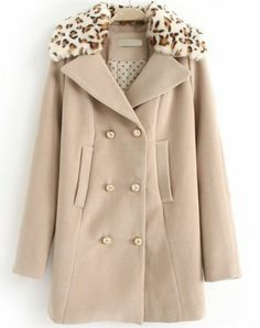 Camel Contrast Leopard Lapel Double Breasted Coat pictures