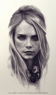 """Cara Delevingne"" - Losber C. Riera, 2014 {figurative art beautiful female head blonde woman face portrait digital drawing #loveart} http://twitter.com/Losber_CarRiera"