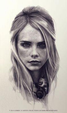 """""""Cara Delevingne"""" - Losber C. Riera, 2014 {figurative art beautiful female head…"""
