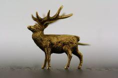Antique Stag Brooch - Victorian Vintage 15ct Gold Deer Brooch