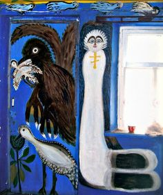 Curious Places: Polina Rajko's house (Tsuriupinsk/ Ukraine) / Her alcoholic son beat her and sold things from her house to get money for alcohol. When he was impisoned in 1997, Polina Rajko started to paint the walls of her house. She was 69. Until her death in 2004 she spent almost all of her pension on enamel paint. All 9 rooms, external walls of the house and fence are painted. Photos by: TOTEM, Kherson