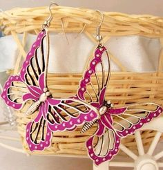 Butterfly Fluorescent color earrings, cheap fashion earring ,shop at www.costwe.com