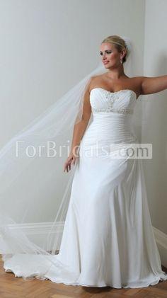 A-line Sweetheart Sweep Train Sleeveless Lace-up Chiffon Wedding Dresses(FWD0147)
