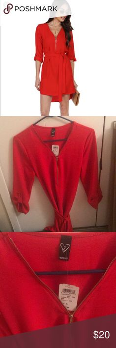 Red Zip Up Tunic Red Tunic with belt. Never worn Windsor Dresses