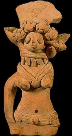 El valle del Indo: Mohenjo-Daro, Harappa - El hombre antiguo y Sus primeras civilizaciones. Figura femenina con tocado y joyería, Harappa, 2600-1900 a.C.