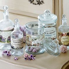pretty jars for rose petals, bath salts with vintage style french labels
