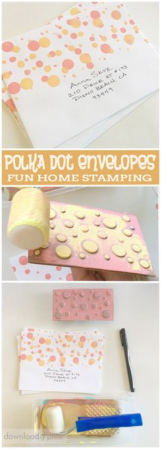 These polka dot envelopes are so colorful and fun, and super easy to DIY at home with a simple stamping technique. Use along with whimsical wedding invitations, for a birthday party, or even a new years eve bash... NYE goes hand in hand with bubbles! http://www.downloadandprint.com/blog/diy-polka-dot-envelopes/