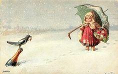 Girl Stands In The Snow-Wally Fialkowska (XX Century, Austrian)