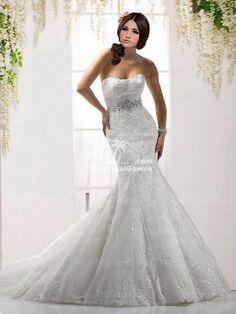 Organza White Applique Trumpet/Mermaid Wedding Gown[rmn261]