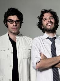 """Flight of the Conchords. Jemaine Clement and Bret McKenzie, New Zealand's own. This links to a hilarious video of them interviewing kids at a local NZ school, which inspired the lyrics for a promotional song for Cure Kids NZ. // favourite line: """"We all just want to be bubbles."""""""