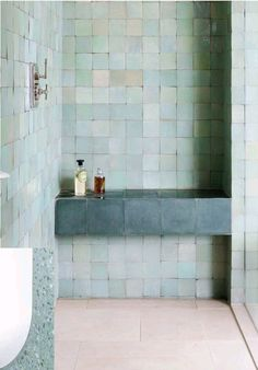 Berber, a collection of high-fired ceramic tile sold through Terrain that mimic the look of handcrafted zellige. These tiles are perfect in… Bad Inspiration, Bathroom Inspiration, Spanish Bathroom, Spanish Style Bathrooms, Timeless Bathroom, Small Bathroom, Pastel Bathroom, Green Bathrooms, Remodled Bathrooms