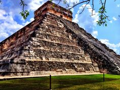 Chichen Itza, Mexico. It was said that this is where the ancient Mayan God Kukukan (serpent) visited earth. On the equinoxes the light creates a series of triangles that descend and ascend down the temple to the serpent head at the foot of the stairs. incredible! But how did they have such precise knowledge of the stars and architecture??