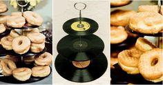 Crea tu misma un soporte para postres vintage con discos de vinilo