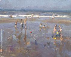 Seascape Summer 7 Children  First days of summer 2430, painting by artist Roos Schuring