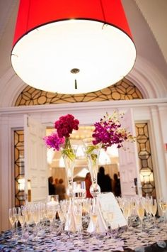 Washington DC Wedding Connor Studios Purple Centerpieces 2 275x414 Elegant Ballroom Wedding Reception in Washington DC: Anna + Bryce