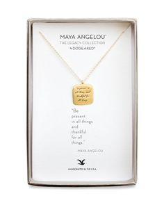 """Dogeared Maya Angelou Legacy Collection """"Be Present..."""" Necklace, 18"""""""