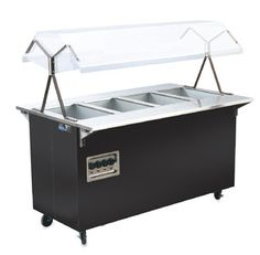 "Vollrath Affordable Portable Four Well Hot Food Station with BLACK WRAPPER complete with Buffet breath guard 60""L - 38710    Affordable Portable Four Well Hot Food Station with BLACK WRAPPER complete with Buffet breath guard, 60""L, 24""W, 57""H, (35"" worksurface ht), solid base, 4 20""x12"" exposed hot wells, 120v/60/1-ph, 17.5 amps, NEMA 5-30P, 525-watt per well, manual controls, UL, NSF, USA, MTO-5 Day Mfg lead time"