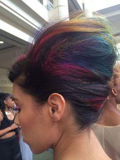 Rainbow hair bouffant
