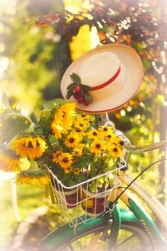 Mellow yellow, a hat, my bike and my fellow! Summer Of Love, Summer Fun, Summer Time, Bouquet Champetre, Enjoy Your Sunday, Happy Sunday, Sunny Sunday, Bicycle Art, Bicycle Decor