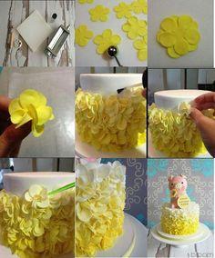 petal ruffle cake tutorial by Bloom Cake Design Cake Decorating Techniques, Cake Decorating Tutorials, Cookie Decorating, Decorating Ideas, Fondant Cakes, Cupcake Cakes, Shoe Cakes, Purse Cakes, Fondant Tips