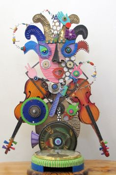 Hands Down I Am A Wild One              recycled fun funky conversation pieces art. $850.00, via Etsy.