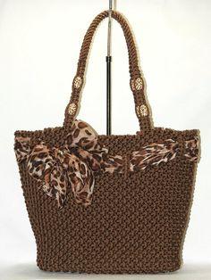 Brown Macrame bag handmadetotepurse handbagliefs by BagsMagicKnots Crotchet Bags, Knitted Bags, Crochet Lace Edging, Bead Crochet, Crochet Handbags, Crochet Purses, Diy Purse, Tote Purse, Crochet Bag Tutorials