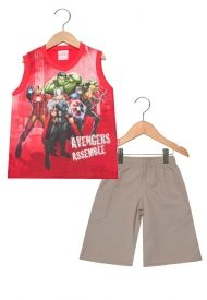Conjunto masculino bermuda e camiseta regata - Os vingadores - Brandili 2779817c417