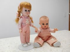 1950's Matching Ginnette & Ginny Dolls ~Squeaker~Tagged Original Outfits~So Cute #DollswithClothingAccessories