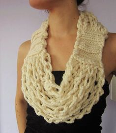 Infinity Scarf plus Necklace equals Cozy Circle Scarflace, Coffee Cream Knitted and Crocheted Infinity Scarf