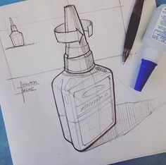 More sketching from my lunch break today. Working a lot with super glue lately… gomero Cool Sketches, Drawing Sketches, Drawings, Sketching, Line Sketch, Object Drawing, Industrial Design Sketch, Sketch Design, Bottle Design