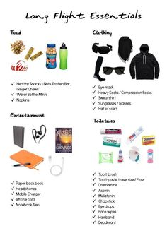 Long flight essentials - click for more trips on surviving long flights from how to pack your carry on to sleep positions and more!