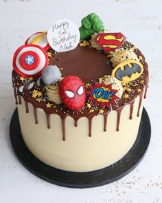 Superhero Buttercream Drip Cake #spidermancake