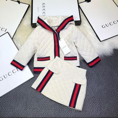 New GG Quilted Skirt Set Category: Girls Sets Gucci Baby Clothes Ideas of Gucci Baby Clothes New b Luxury Baby Clothes, Gucci Baby Clothes, Designer Baby Clothes, Cute Baby Clothes, Baby Clothes Shops, Gucci Clothing, Baby Girl Shoes, Cute Baby Girl, Baby Boy Outfits