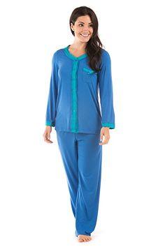 Women's Long Sleeve Pajama Set - Eco Nirvana (Skydiver, Large/Petite) Best Nightwear for Her WB0005-SKY-LP
