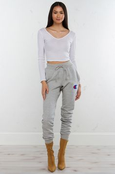 Front View Champion Sweatpants in Silver Grey