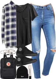 Outfit for university with Converse and a kanken by ferned featuring plaid shirts Current Elliott plaid shirt / H M jersey shirt, 14 AUD / Clothing / Converse black sneaker, 92 AUD / Fjällräven backpack bag / Pieces knot ring, 14 AUD / Beanie hat, 42...