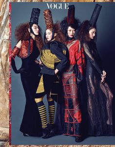 Han Eu ddeum, Lee Seung Mi, Park Hee Jeong, Stephanie Lee and Heo Bomi with Jean Paul Gaultier for Vogue Korea May 2016. Photographed by Jang Dukhwa