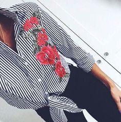 @lradwell - Kaya Striped Embroidered Oversized Shirt   Rebellious Fashion