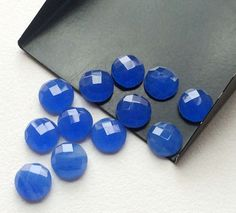 Blue Chalcedony Cabochons Blue Rose Cut Flat Back by gemsforjewels