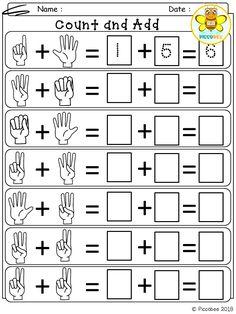 Count and add by hand Free, Freebies, Pre-K, Kindergarten, First Grade, Pre-Primer, Primer, 1st Grade, Alphabet, Sight Words, Math.