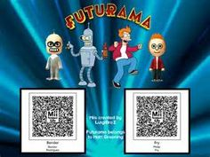 Fry and Bender QR Codes for Tomodachi Life!