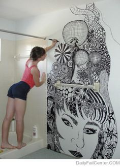 Bathroom Wall Zentangle
