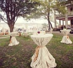 reception/cocktail hour table ideas for an outdoor wedding! Country Club Wedding, Rustic Wedding, Our Wedding, Dream Wedding, Lace Wedding, Wedding Draping, Wedding Tables, Reception Table, Hawaii Wedding