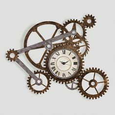 The Gear Wall Art with Clock is a magnificent statement of industrial beauty and design complexity