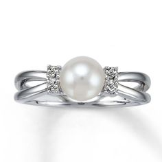 diamond and pearl ring pics | Kay - Cultured Pearl Ring With Diamond Accents Sterling Silver