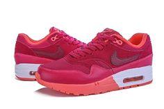 Billige Nike Air Max 1 Oransje Rød Online Sports Sko for Dame