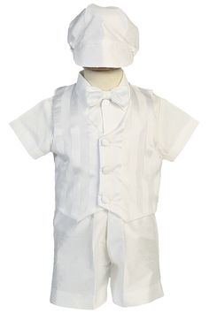 Shantung Vest & Shorts 5 Pc White Christening Outfit with Subtle Stripe Vest (Baby or Toddler Boys)