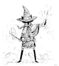 Alternate future and battle hardened Coffee Mage! Ready to curse at the flick of a wand ; Cartoon Kunst, Cartoon Drawings, Cartoon Art, Cool Drawings, Character Drawing, Character Concept, Concept Art, Art And Illustration, Fantasy Kunst